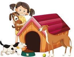 bambini con cani su sfondo isolato vettore