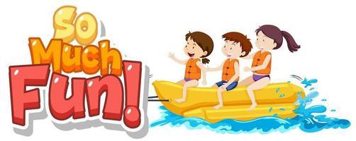 testo così divertente con i bambini che giocano in acqua
