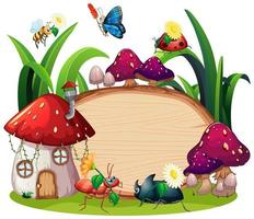 disegno del modello di confine con insetti in giardino