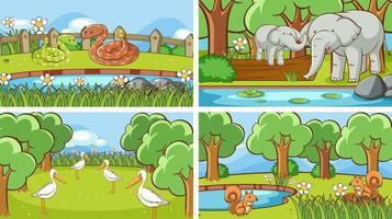 scene di sfondo di animali nel set selvaggio