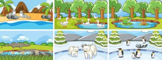 scene di sfondo di animali nel set selvaggio vettore