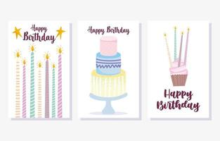 torta candele accese cupcake set di carte vettore
