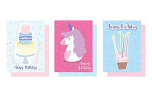 set di carte per cupcake e torta unicorno