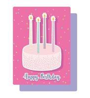 torta dolce con carta di candele vettore