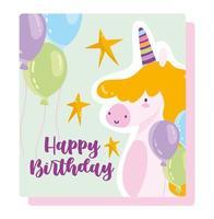 carta di palloncini unicorno di buon compleanno vettore