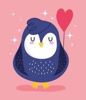 pinguino uccello animale cartone animato palloncino forma cuore decorazione