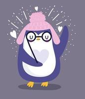pinguino con occhiali e cappello con pompon
