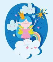 principessa con la bacchetta magica su nuvole e arcobaleno vettore