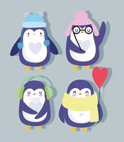 cartone animato di pinguini con cappelli