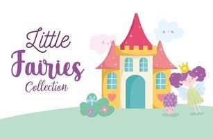 cartone animato principessa delle fate con castello, personaggio dei funghi