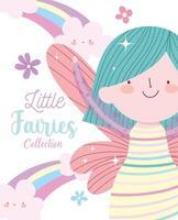 poster di principessa delle fate con fiori e nuvole arcobaleno vettore