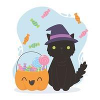 felice halloween, strega gatto e zucca con caramelle vettore