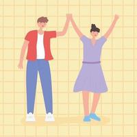 persone insieme, uomo e donna uniti con le mani in alto
