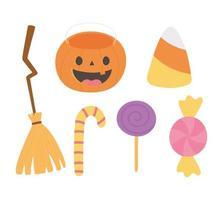 felice zucca di halloween, scopa, icone di caramelle