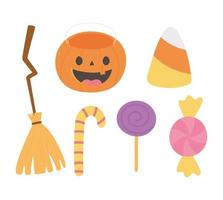 felice zucca di halloween, scopa, icone di caramelle vettore