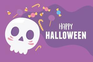 felice teschio di cartone animato di halloween e carta di caramelle dolci vettore