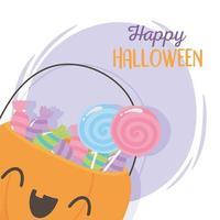 felice halloween, zucca carina con caramelle dolci vettore