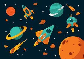 Vettore libero del fumetto di astronave