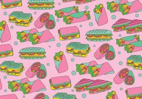 Panino Sandwich Pattern Vector