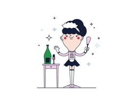 Vettore di cameriera francese gratuito