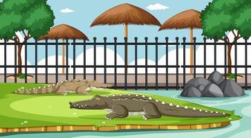 alligatore nella scena dello zoo vettore