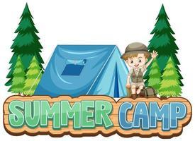 font design per campo estivo con ragazzo carino