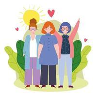 gruppo di donne che celebrano il design dell'amicizia vettore