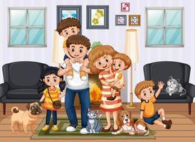 persone che stanno a casa con la famiglia vettore