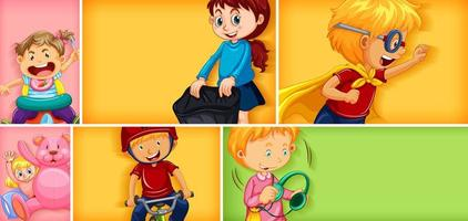 diversi personaggi per bambini su sfondo di colore diverso