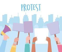mani che tengono i segni di protesta in bianco vettore
