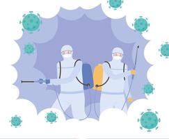 concetto di disinfezione con persone in tute protettive vettore