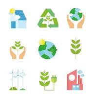 collezione di icone di ecologia e riciclaggio vettore