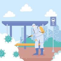 disinfezione da virus su una fermata dell'autobus