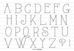 Alfabeto disegnato a mano carino vettore
