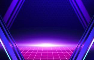 luce in stile cyberpunk viola sullo sfondo al neon dell'orizzonte vettore