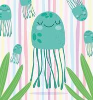 meduse alghe fogliame scena di vita marina vettore