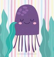 sotto il mare, paesaggio marino di alghe meduse vettore