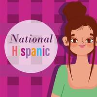 mese del patrimonio ispanico nazionale, cartone animato di giovane donna