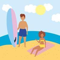 donna e uomo con tavola da surf in spiaggia vettore