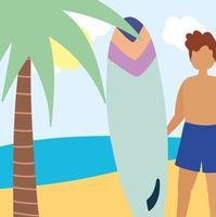 giovane che tiene la tavola da surf in spiaggia vettore