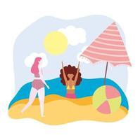 ragazze divertenti con pallone da spiaggia e ombrellone vettore