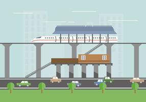 Illustrazione piana di vettore del treno della stazione del TGV