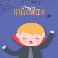 felice saluto di halloween con il vampiro vettore
