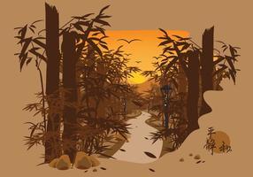 Vettore cinese dell'illustrazione del lanscape di bambù