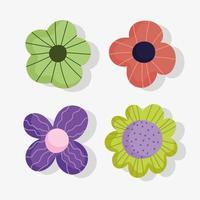 set di graziosi fiori design piatto