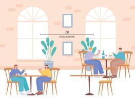 persone che mangiano e allontanamento sociale in un ristorante