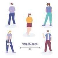 persone di distanza sociale vettore