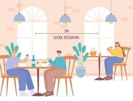persone che mangiano e allontanamento sociale in un ristorante vettore