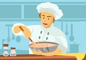 Cuoco unico che usando il vettore della ciotola di miscelazione