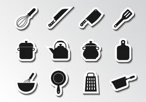 Vettore libero delle icone degli utensili della cucina